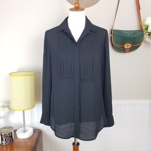 J. Crew Black Pleated Sheer Button Up